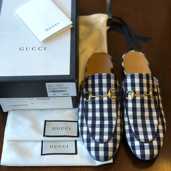 fe4f73b3e Gucci Shoes | Navy Blue Gingham Check Princetown Mules | Poshmark